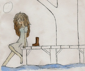 drawing, girl, and watercolor image