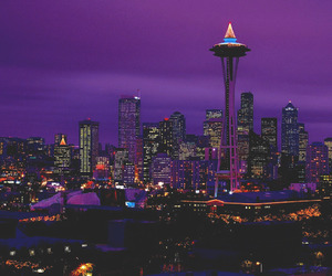 city, seattle, and night image