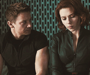 black widow, hawkeye, and natasha romanoff image