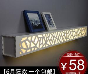 diy, light, and shelf image