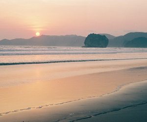 beach, dawn, and water image