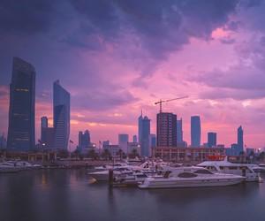 pink sky, port, and sunrise image