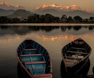 boat, lake, and mountains image