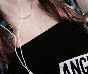 black, earphones, and fashion image