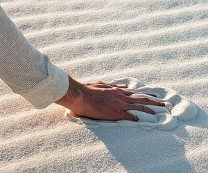 sand, hand, and beach image