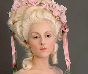 powdered wig, roses, and ribbons image