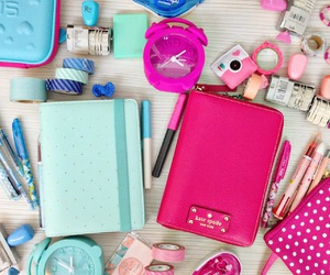 pink, blue, and school image