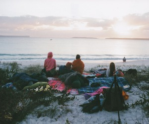 friends, beach, and sea image