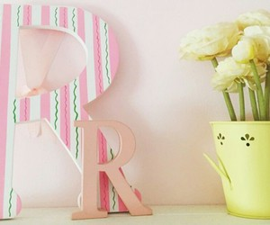 yellow flowers, letter decor, and yellow vase image