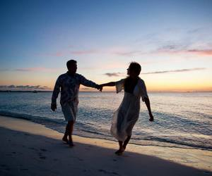 beach, beautiful, and couple image