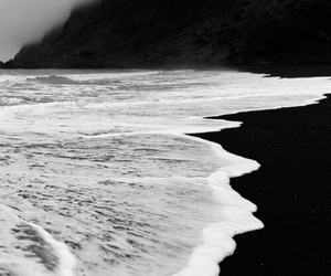 sea, black and white, and black image
