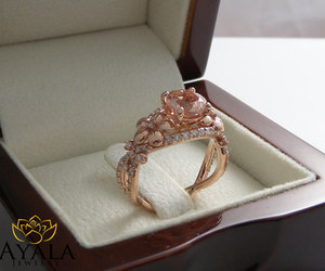 flower ring, art deco engagement ring, and floral ring image