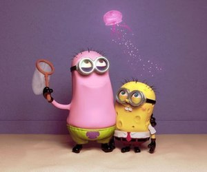 minions, patrick, and spongebob image