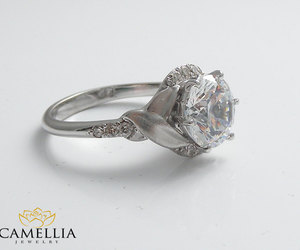 wedding ring, promise ring, and leaf ring image