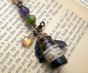 book, bottle, and necklace image