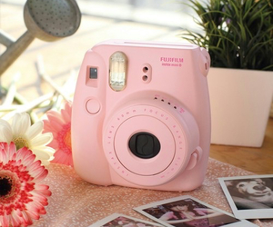 pink, camera, and flowers image