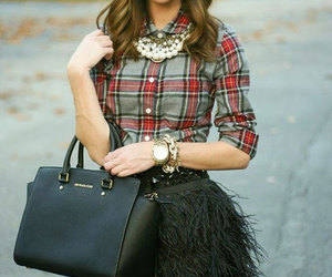style, outfit, and plaid image