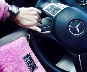 benz, girl, and pink image