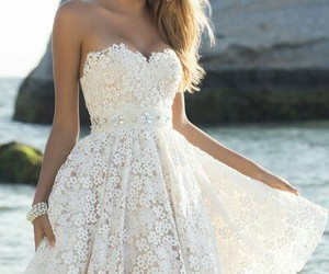 beautiful tan dress white image
