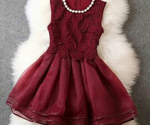beautiful, dress, and red image