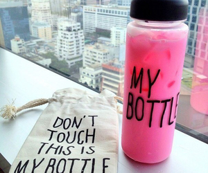 my bottle, pink, and drink image