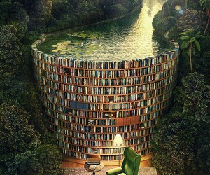 books, library, and sea image