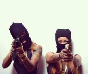 girl, gun, and tattoo image