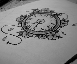 cherry blossom, ink, and pocket watch image