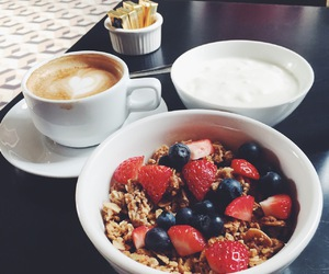 breakfast, coffee, and strawberry image