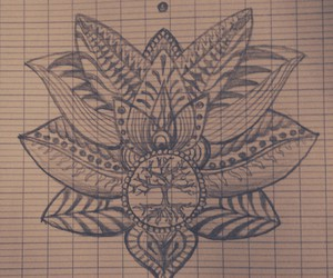black and white, draw, and flower image