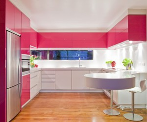 kitchen, pink, and modern image