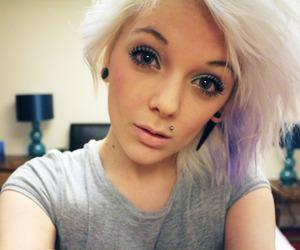blonde, piercing, and eyes image