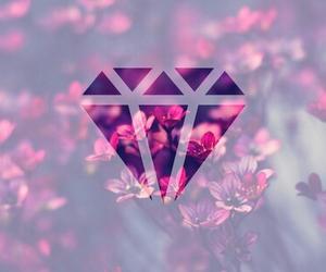 diamond, flowers, and pink image
