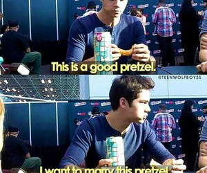 pretzel, dylan o'brien, and funny image