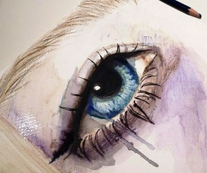 art, eye, and watercolor image