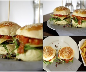 bread, burger, and meat image