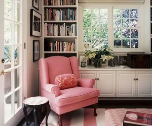 pink, book, and interior image