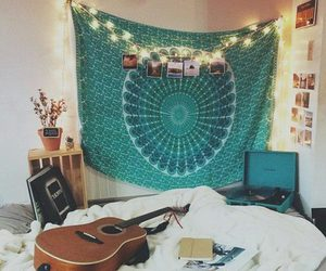 room, bedroom, and guitar image