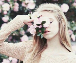 flowers, girl, and paradise image