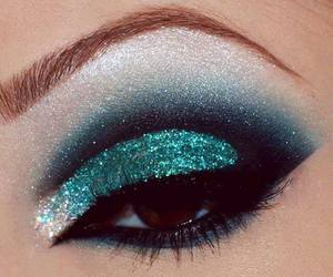 make up, blue, and glitter image