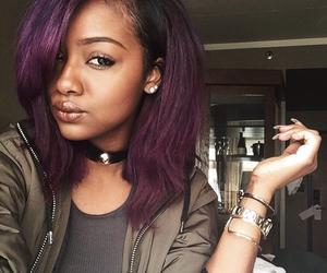 black women, purple, and purple hair image