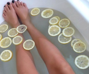 bath, black, and foots image