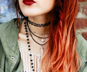 hair, necklace, and red image