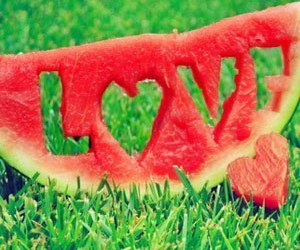 heart, love, and water-melon image