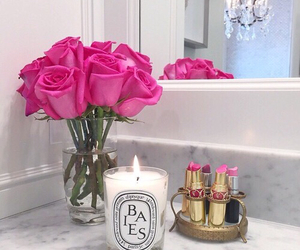 flowers, pink, and lipstick image
