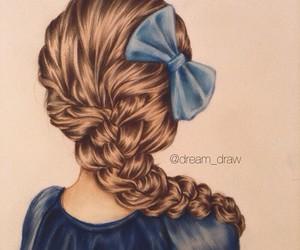 bow, drawing, and hair image