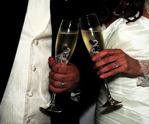 champagne, rings, and couple image