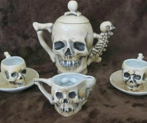 skull, cup, and tea image