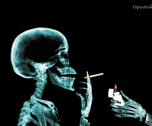 cigarette, smoke, and skull image