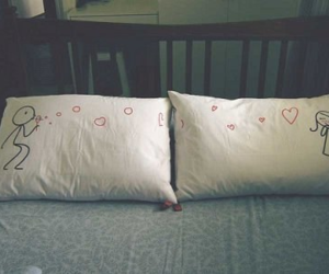love, pillow, and bed image